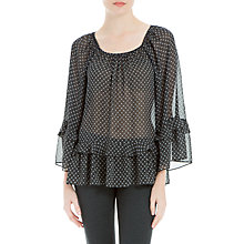 Buy Max Studio Bell Sleeve Sheer Blouse, Black/Ivory Online at johnlewis.com