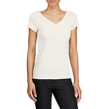 Buy Lauren Ralph Lauren Stretch Cotton V-Neck Top Online at johnlewis.com