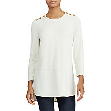 Buy Lauren Ralph Lauren Zalmal 3/4 Sleeve Top, Natural Online at johnlewis.com