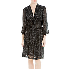 Buy Max Studio Shirring Waist Spot Print Dress, Black/Cream Online at johnlewis.com
