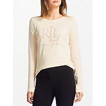 Buy Lauren Ralph Lauren Studded Jersey T-Shirt, Natural Online at johnlewis.com