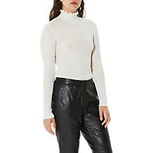 Buy Selected Femme Costa Rib Frill Neck Jumper, Snow White Online at johnlewis.com