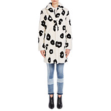 Buy Oui Faux Fur Printed Coat, Cream/Black Online at johnlewis.com