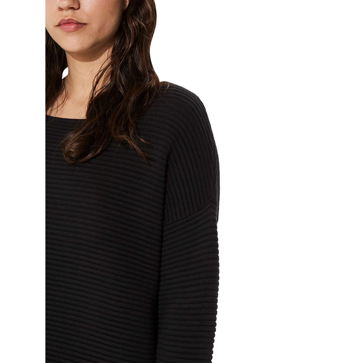 BuySelected Femme Laua Ribbed Jumper, Black, XS Online at johnlewis.com