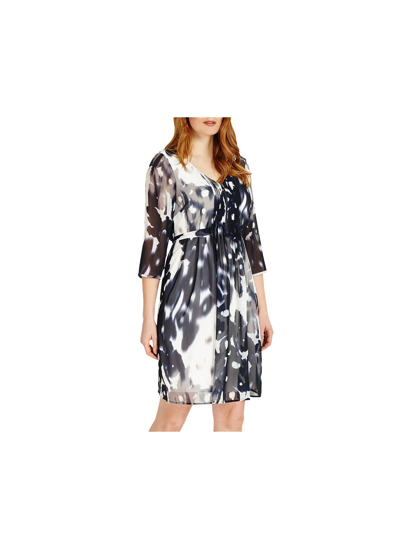 BuyStudio 8 Ainsley Abstract Print V Neck Shift Dress, Monochrome, 12 Online at johnlewis.com