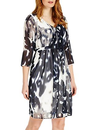 Studio 8 Ainsley Abstract Print V Neck Shift Dress, Monochrome