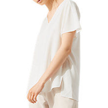 Buy Jigsaw V-Neck Cady Top, Ivory Online at johnlewis.com