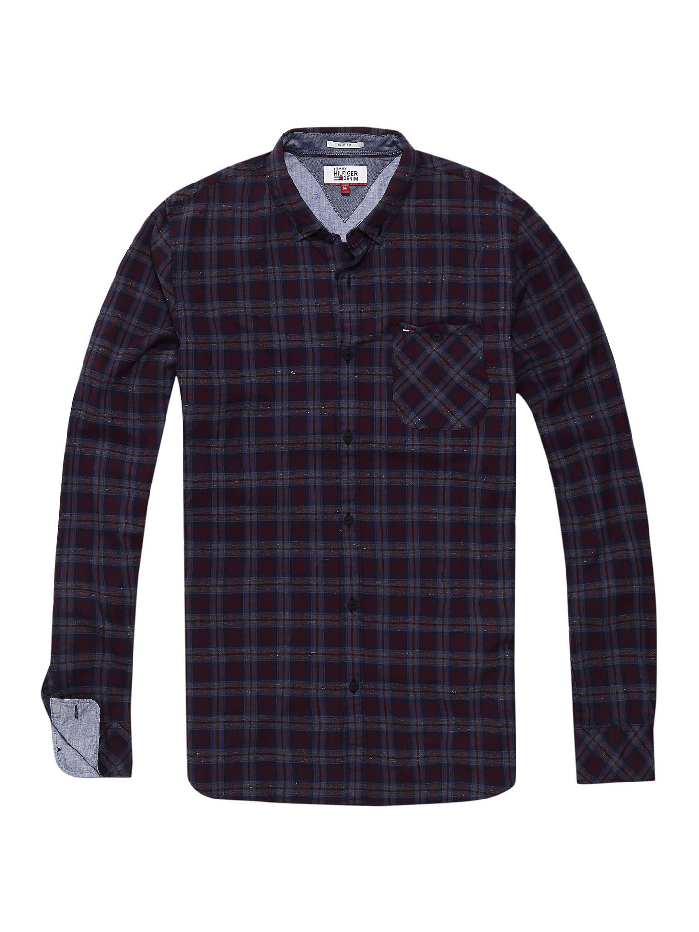 a4cf8c3b Buy Tommy Jeans Long Sleeve Checked Shirt, Indigo, S Online at  johnlewis.com ...