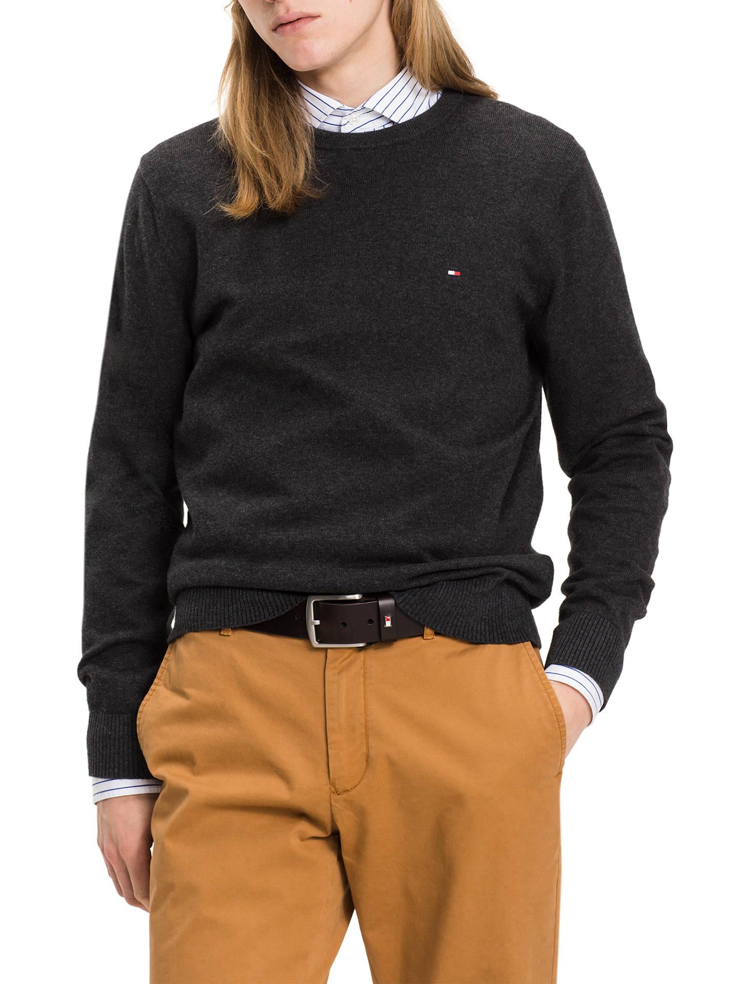 1513efe01bd Buy Tommy Hilfiger Crew Neck Long Sleeve Knit Jumper, Charcoal Heather, S  Online at ...