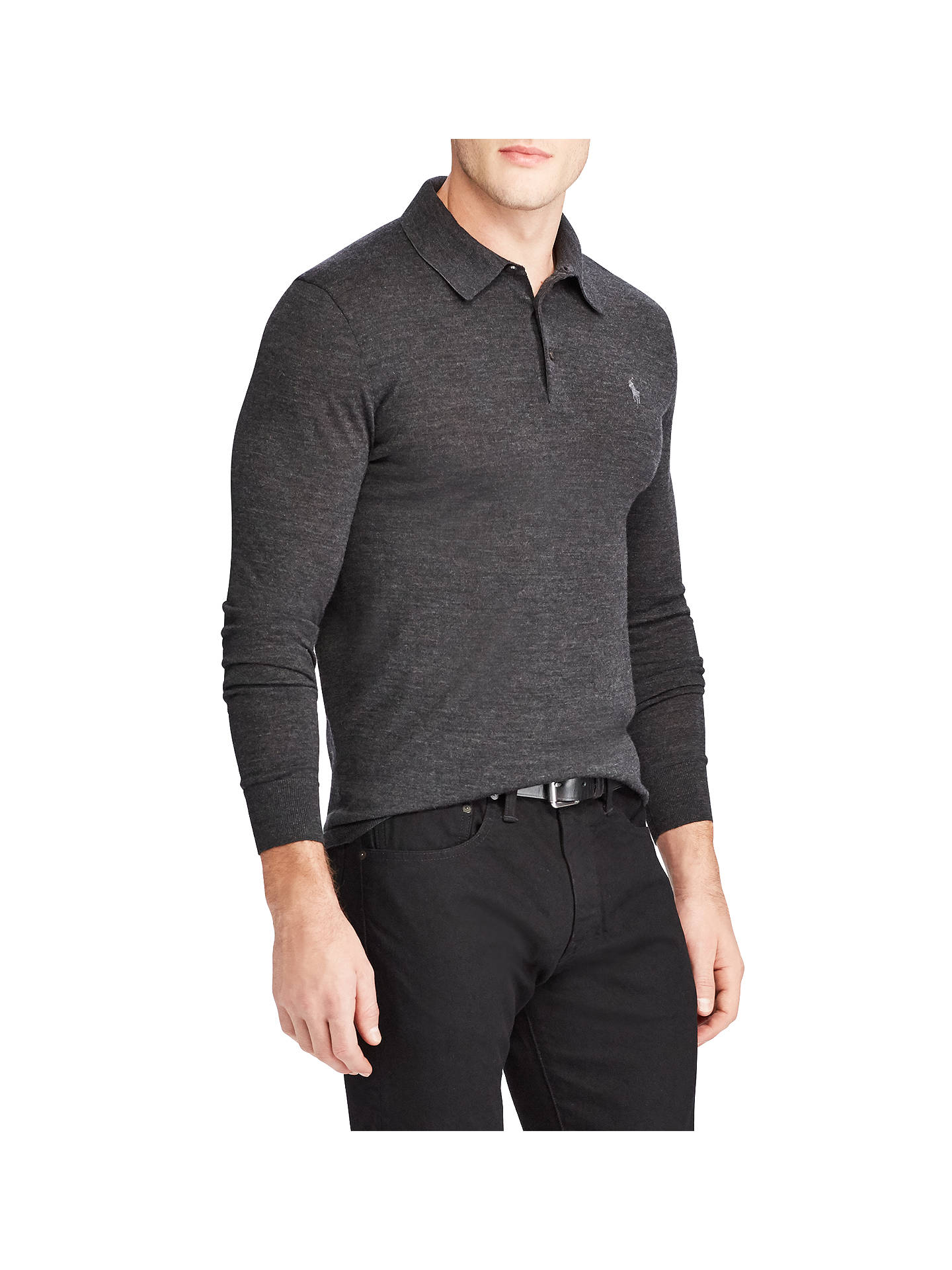 BuyPolo Ralph Lauren Knit Long Sleeve Polo Jumper, Dark Granite Heather, S  Online at ... a02be02e8bf9