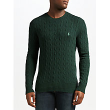 Buy Polo Ralph Lauren Cable Crew Neck Jumper, Landmark Green Online at johnlewis.com
