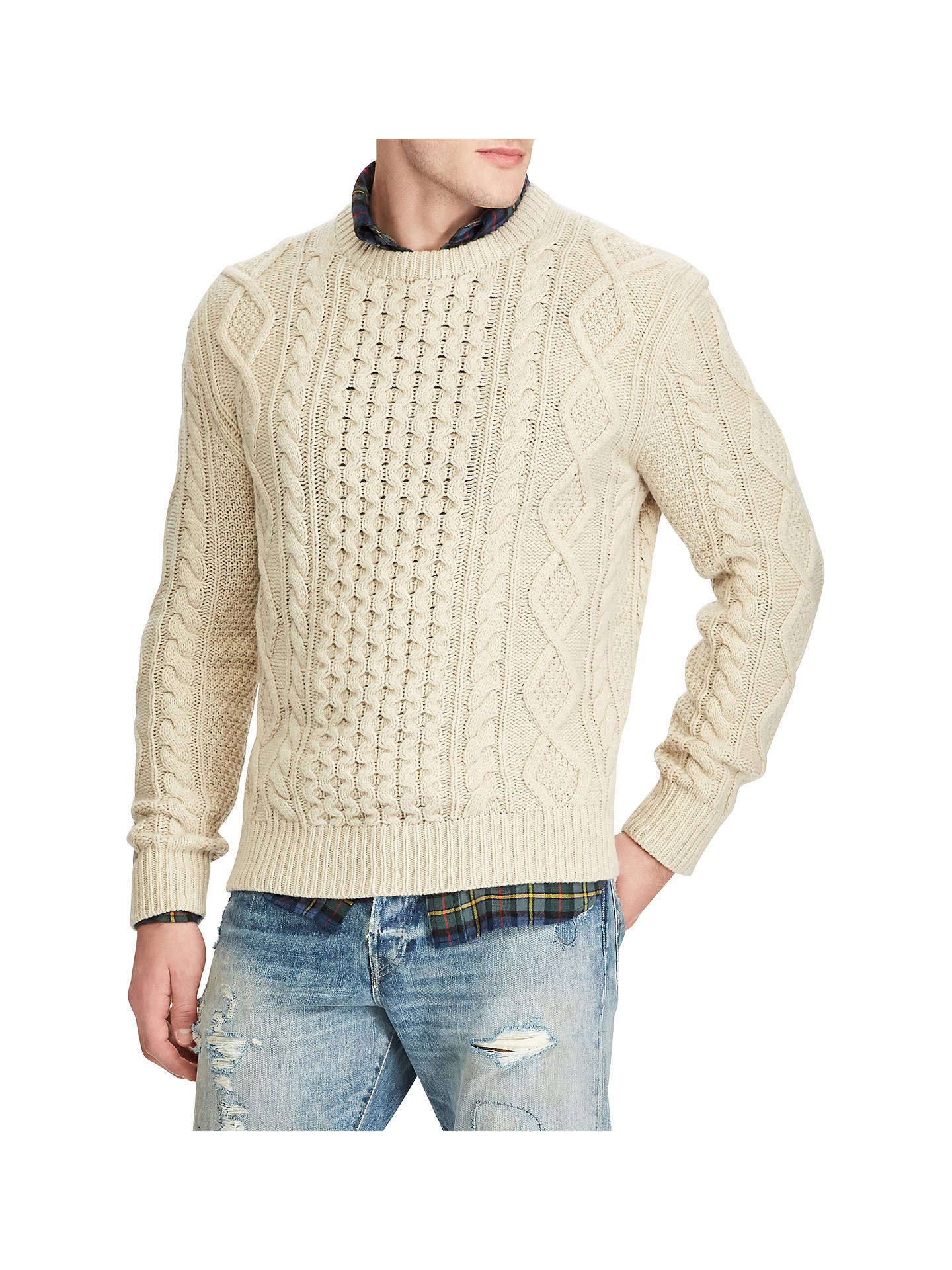 0b6fcda0e310 BuyPolo Ralph Lauren Long Sleeve Aran Crew Neck Jumper, Cream, S Online at  johnlewis ...