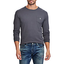 Buy Polo Ralph Lauren Long Sleeve Crew Neck Pocket T-Shirt, Infinite Grey Online at johnlewis.com