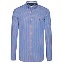 Buy Tommy Hilfiger Dobby Stripe Shirt, Shirt Blue/Haute Red Online at johnlewis.com