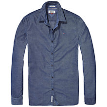 Buy Tommy Jeans Solid Long Sleeve Shirt, Blue Online at johnlewis.com