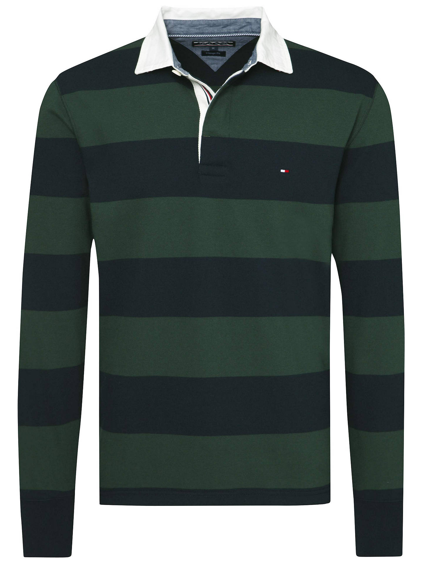 2b243a00c44 Buy Tommy Hilfiger Basic Block Stripe Rugby Shirt, Sky Captain/Darkest  Spruce, S ...