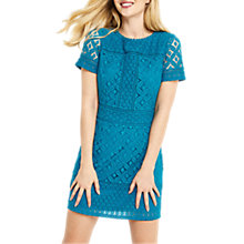 Buy Oasis Isla Lace Shorter Shift Dress, Turquoise Online at johnlewis.com