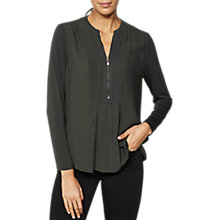 Buy Mint Velvet Pleated Zip Front Top, Khaki Online at johnlewis.com