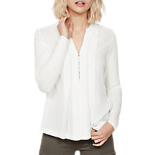 Buy Mint Velvet Pleated Zip Front Blouse, Ivory Online at johnlewis.com