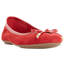 Buy Dune Hype Bow Ballet Pumps, Red Suede Online at johnlewis.com