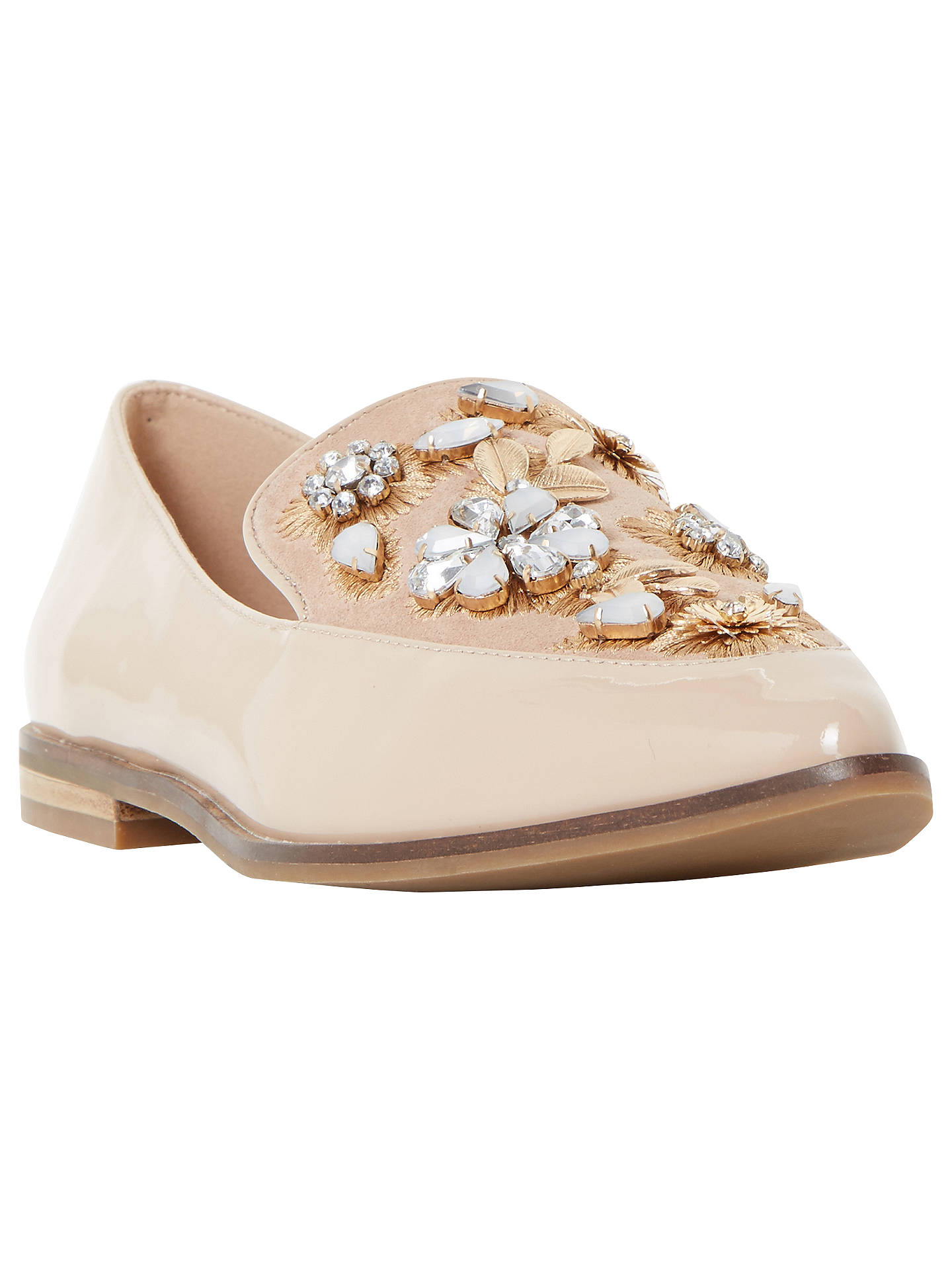 1cc2faae8b Buy Dune Gift Embellished Pointed Toe Loafers, Nude Leather, 3 Online at  johnlewis.
