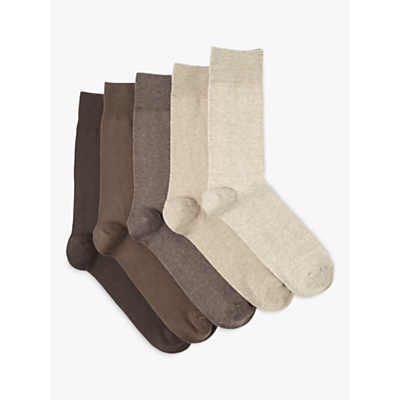 Product photo of John lewis cotton rich socks pack of 5 brown beige