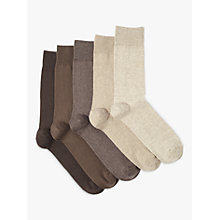 Buy John Lewis Cotton Rich Socks, Pack of 5, Brown/Beige Online at johnlewis.com
