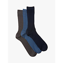 Buy John Lewis Pure Mercerised Cotton Socks, Pack of 3, Multi Online at johnlewis.com