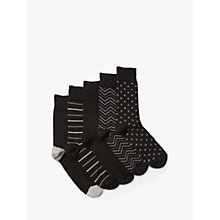 Buy John Lewis Multi Pattern Socks, Pack of 5, Black Online at johnlewis.com