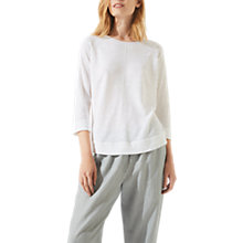 Buy Jigsaw Cotton Slub Pointelle Jumper, White Online at johnlewis.com