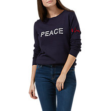 Buy Sugarhill Boutique 'Peace & Love' Chain-Stitch Sweatshirt, Navy Online at johnlewis.com