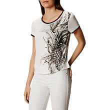 Buy Karen Millen Tropical Print T-Shirt, White/Multi Online at johnlewis.com