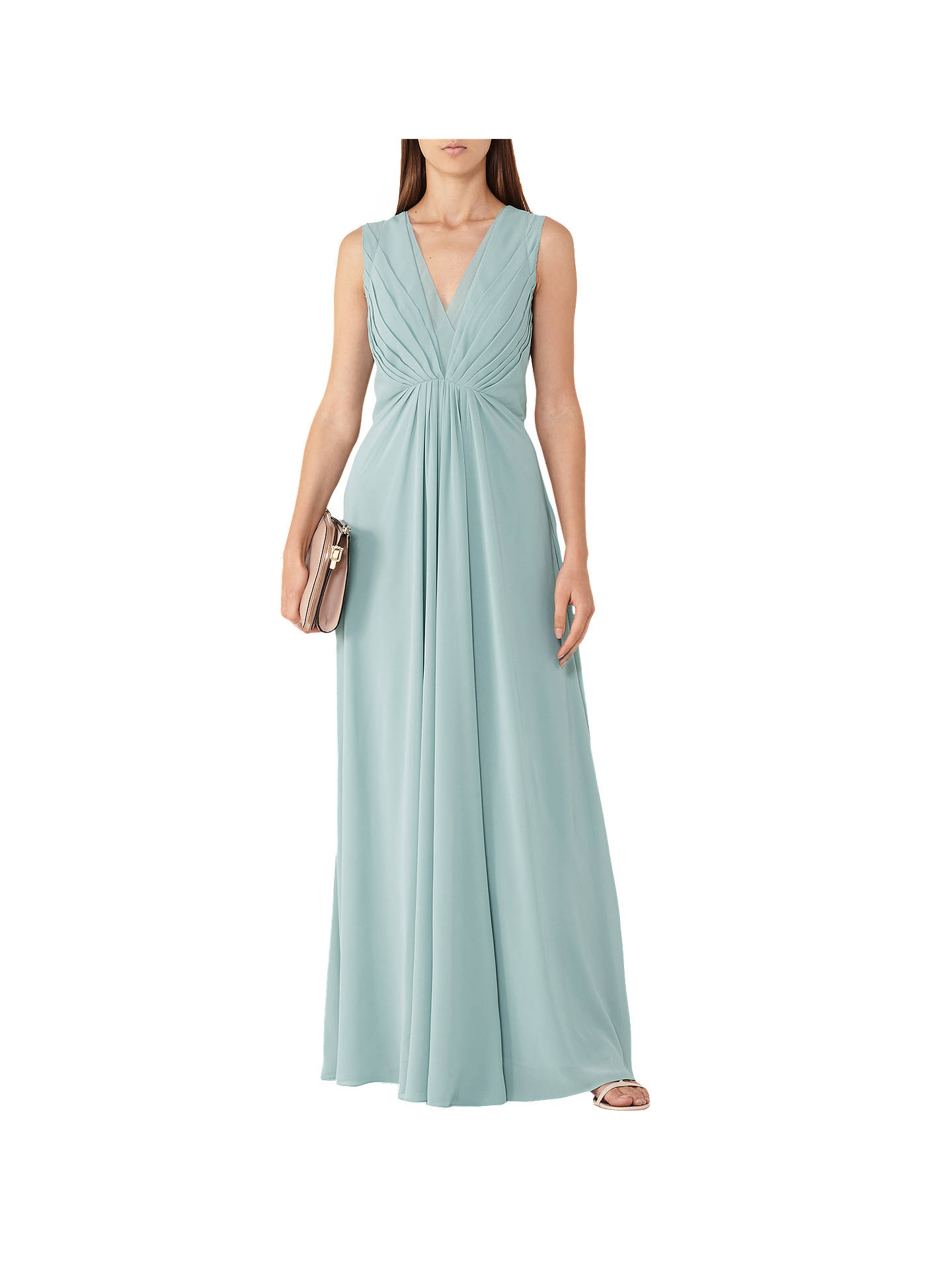 7e5e6147ce Buy Reiss Evie Low-Back Pleated Maxi Dress, Sea Glass, 6 Online at ...