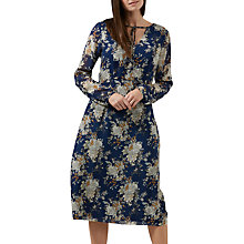 Buy Sugarhill Boutique Noor Tie Neck Floral Midi Dress, Blue/Multi Online at johnlewis.com