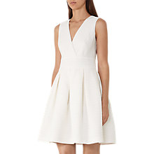 Buy Reiss Winola Textured Fit and Flare Dress, Off White Online at johnlewis.com
