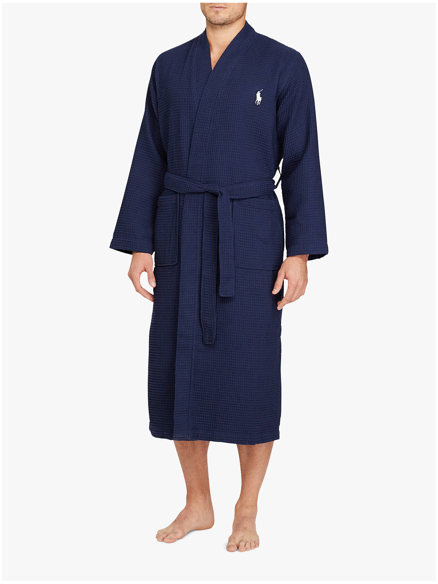 Buy Authentic a few days away 50% price Polo Ralph Lauren Cotton Waffle Robe, Navy at John Lewis ...