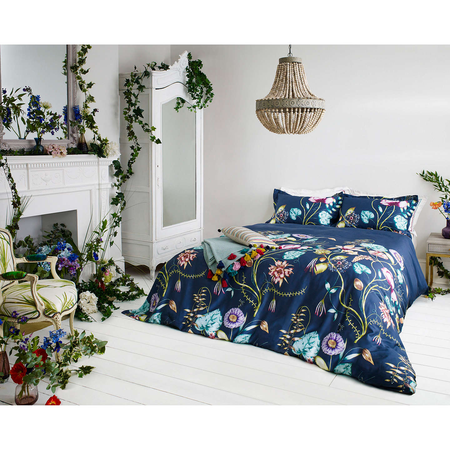 BuyHarlequin Quintessence Blue Floral Oxford Pillowcase Online at johnlewis.com