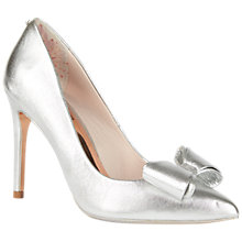 Buy Ted Baker Tie the Knot Azeline Bow Stiletto Heeled Court Shoes, Silver Online at johnlewis.com