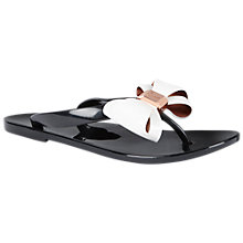 Buy Ted Baker Rafeek Bow Flip Flops, Black/Cream Online at johnlewis.com