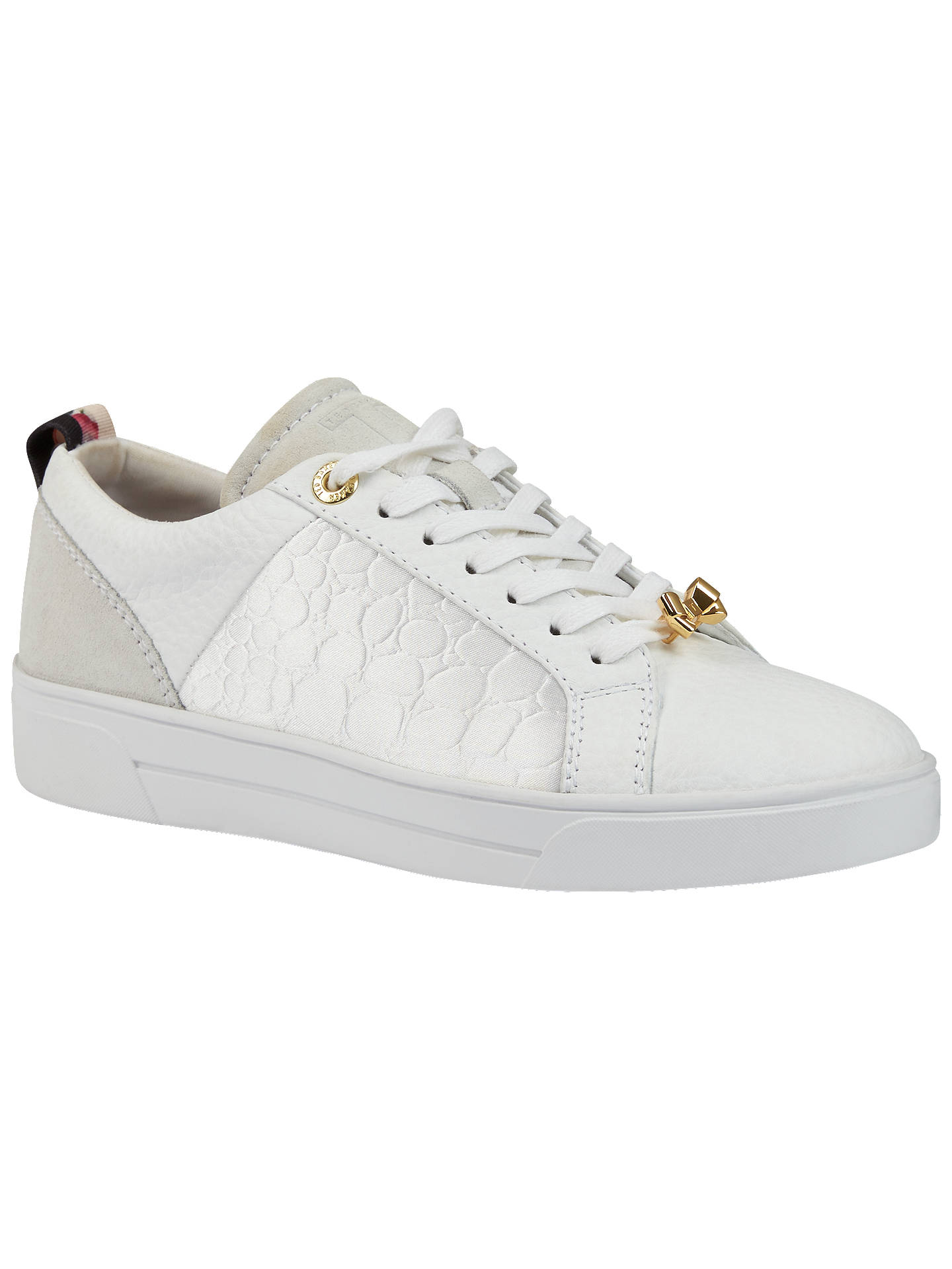 091cca9a1 Buy Ted Baker Kulei Bow Lace Up Trainers, White, 4 Online at johnlewis.