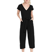 Buy Oasis V-Neck Wide Leg Jumpsuit, Black Online at johnlewis.com