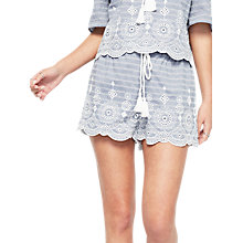 Buy Miss Selfridge Petite Stripe Embroidered Shorts, Blue Online at johnlewis.com