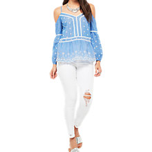 Buy Miss Selfridge Cutwork Cold Shoulder Top, Chambray Online at johnlewis.com