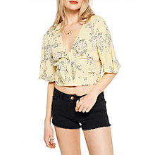 Buy Miss Selfridge Floral Ruffle Crop Top, Yellow Online at johnlewis.com
