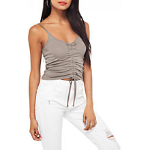 Buy Miss Selfridge Ruche Front Camisole Top, Grey Online at johnlewis.com