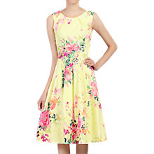 Buy Jolie Moi Floral Print Fold Detail Prom Dress, Yellow Online at johnlewis.com