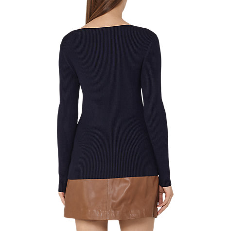 Buy Reiss Nicky Ribbed-Knit Jumper, Night Navy Online at johnlewis.com