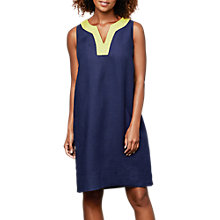 Buy East Linen Notch Neck Dress, Ocean Online at johnlewis.com