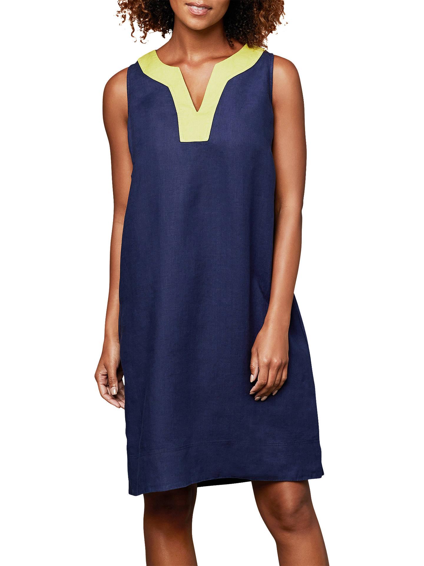 3d2f3debfd Buy East Linen Notch Neck Dress, Ocean, 8 Online at johnlewis.com ...