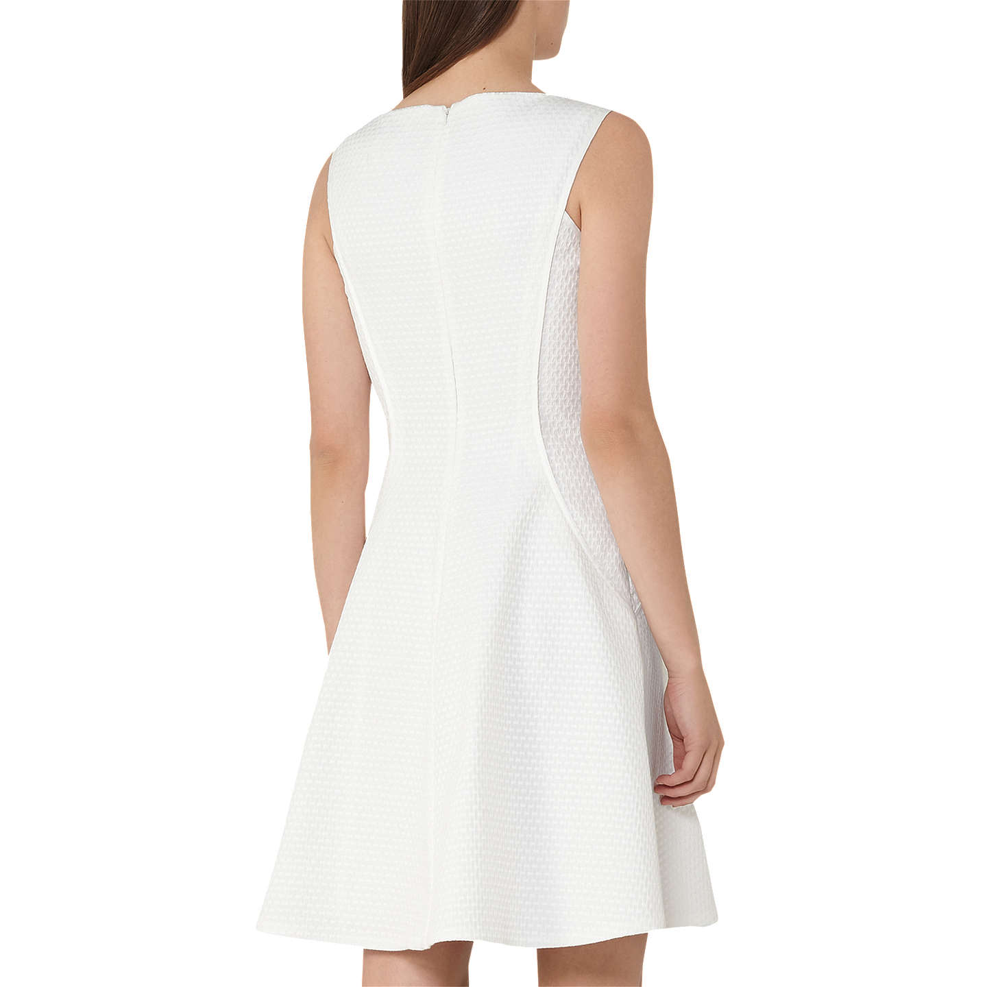 Cara - Textured Fit And Flare Dress in Off White, Womens, Size 10 Reiss